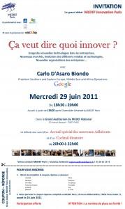 Invitation Medef Innovation
