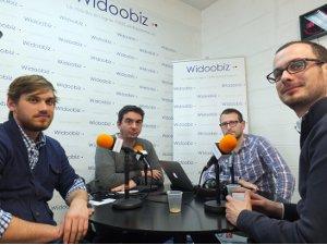 Dominique Blanc, de la société Mediamind, Edouard Petit de BunkR et Frédéric Dumeny de Adfonic au micro de Lionel Kaplan