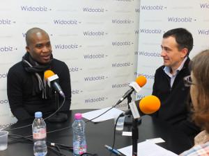 Serge Guedegbe (Label Lucie) et Antoine Lefèvre (Infotrafic) au micro de Nathalie Olivier
